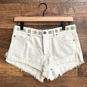 Free People Elliot Embroidered Cutoff Shorts Ivory